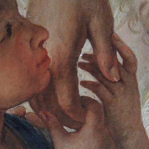 Tela raffigurante S. Girolamo Emiliani tra i fanciulli di Carli Francesco (Candido), 1765, 160x 260 cm, Genova Nervi, Parrocchia S. Maria Assunta. (Restauro realizzato in collaborazione con il Laboratorio delle Scuole Pie).