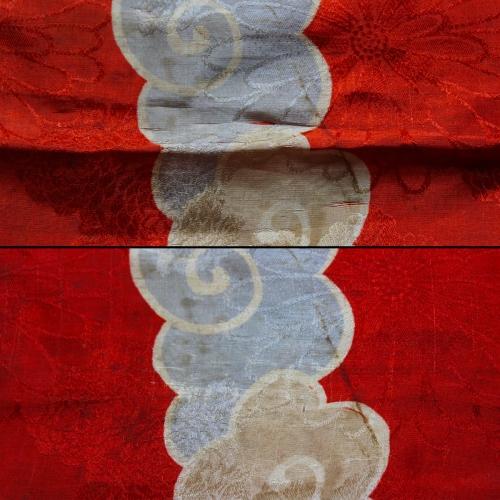 6) Kimono (inizi XX sec.). Particolare prima e dopo il restauro.